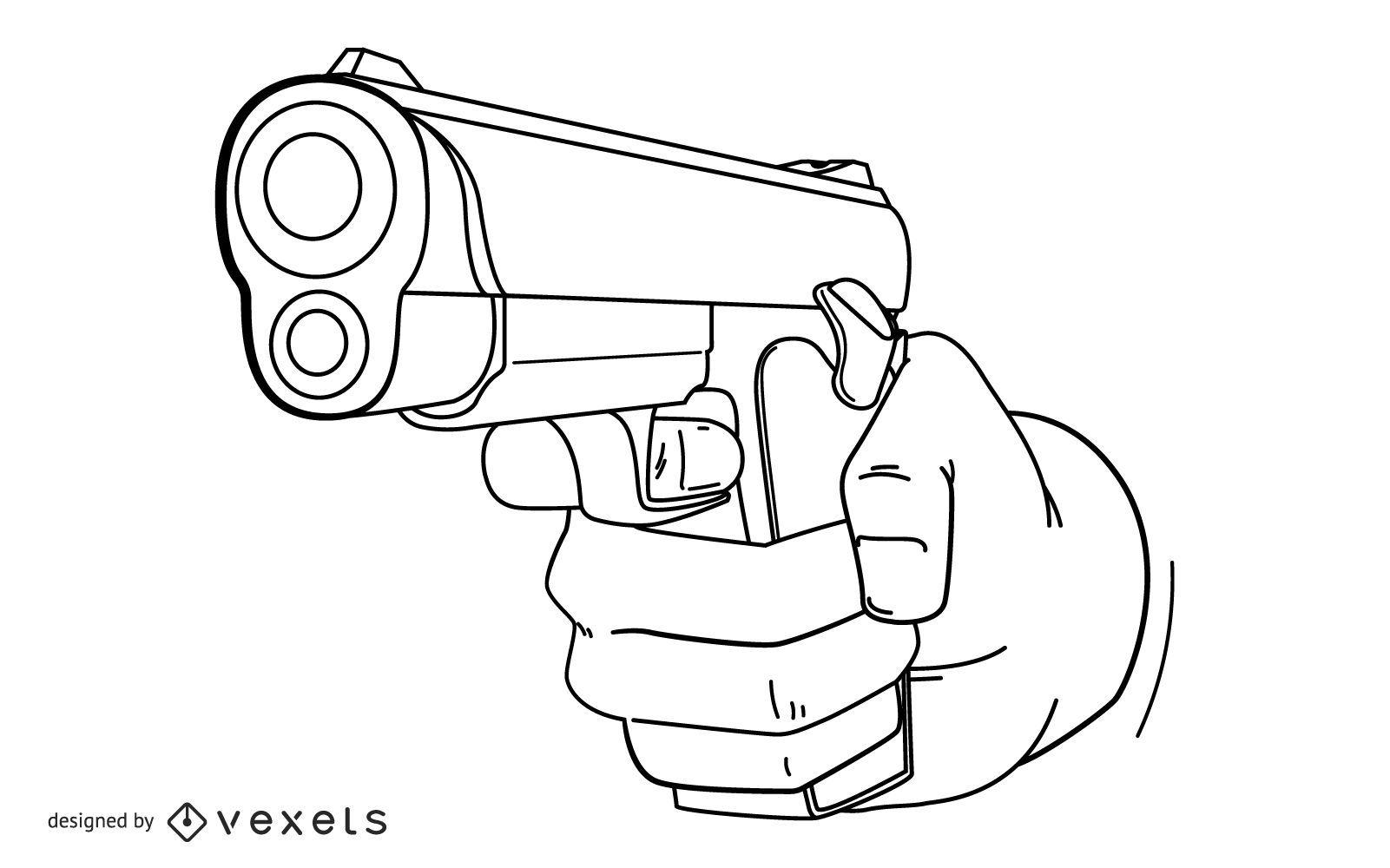 Hand with gun stroke design