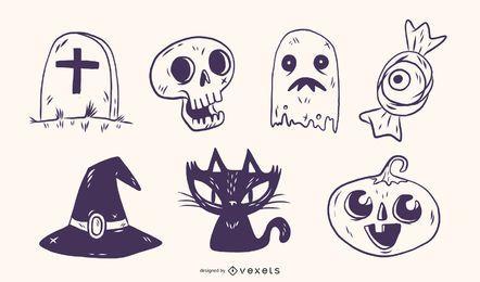 Ilustrações desenhadas à mão de Halloween