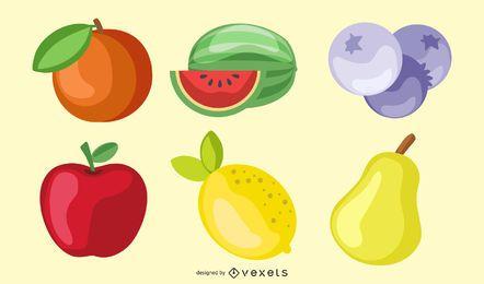 shiny fruits illustration set
