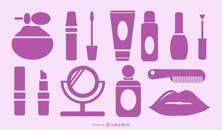 colección de cosméticos morados
