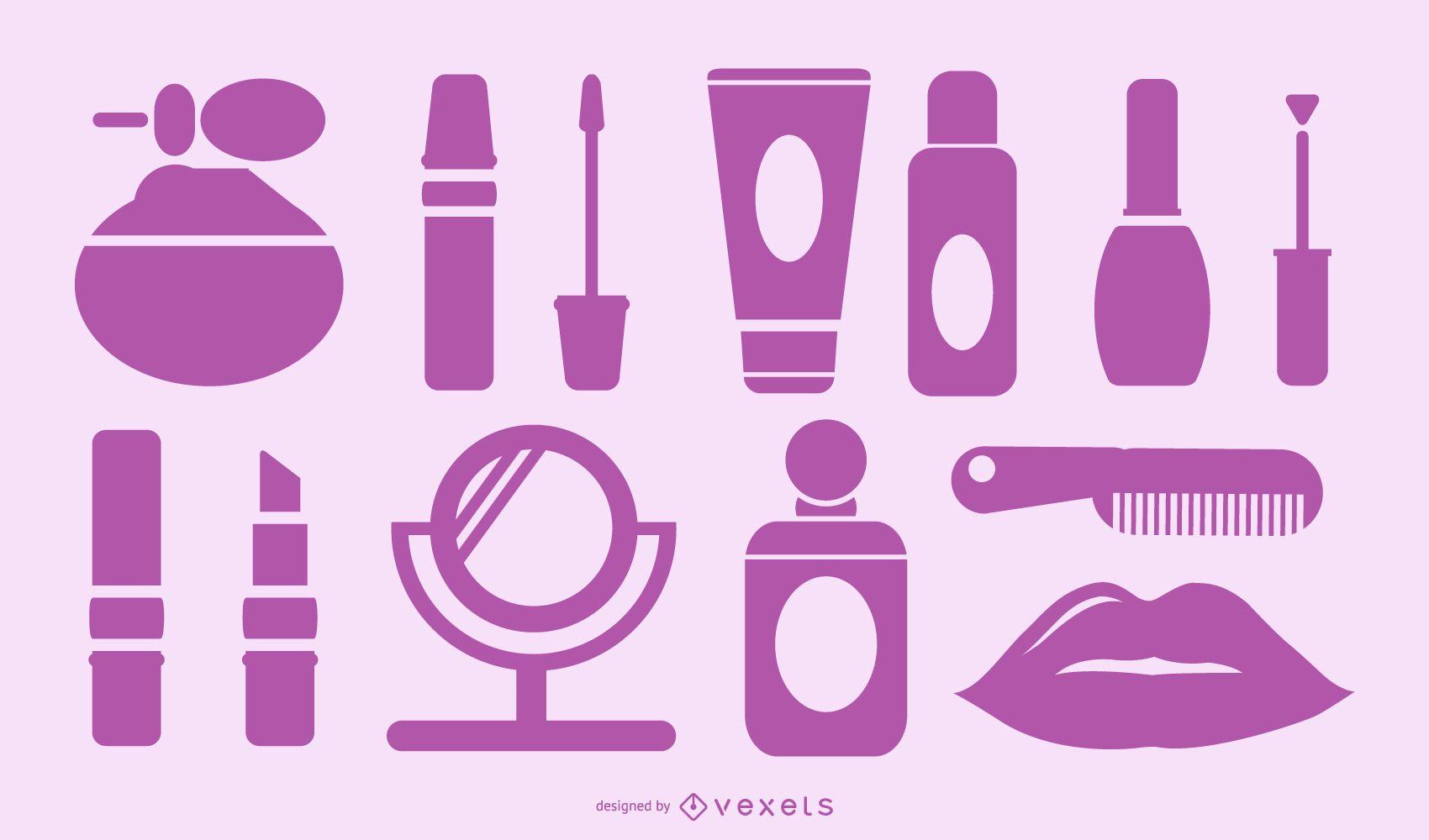 purple cosmetics set collection