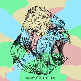 Ilustração irritada da arte da linha do gorila