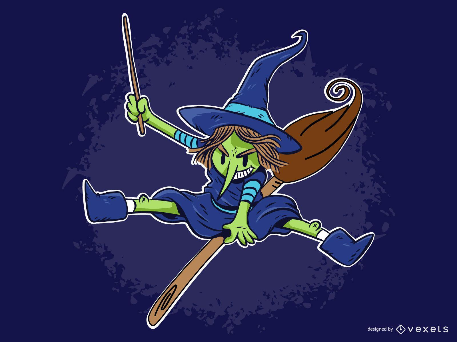 Bruxa de Halloween e vetor gráfico