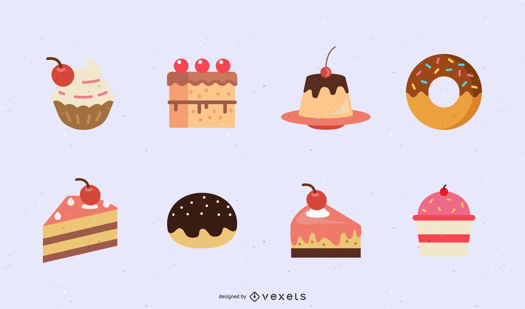 flat desserts illustration set