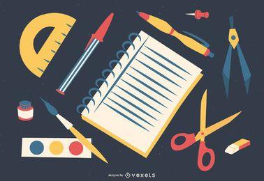 diseño de ilustración de útiles escolares