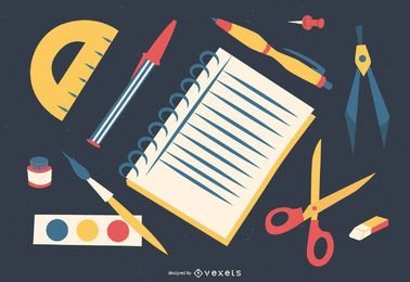 school supplies illustration design