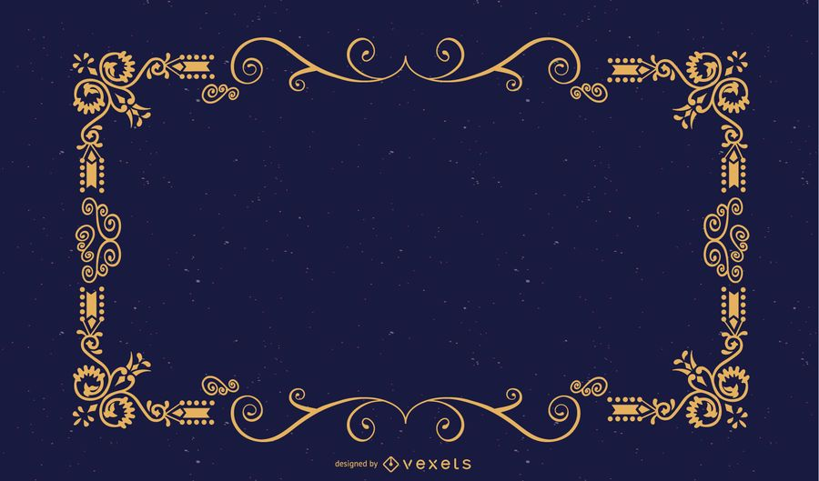 Moldura decorativa sobre azul
