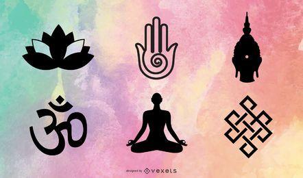 Símbolos budistas tibetanos e objetos