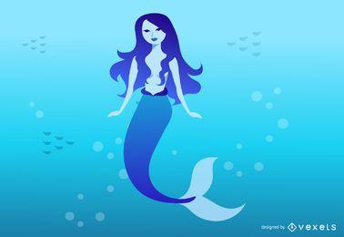 Ilustración de sirena azul mítica
