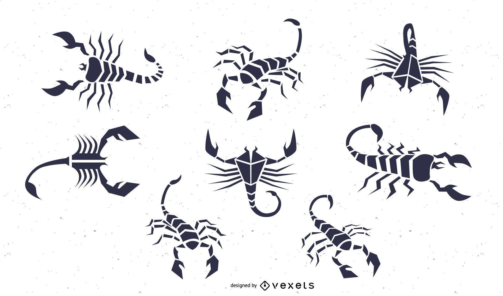 black scorpion illustration set