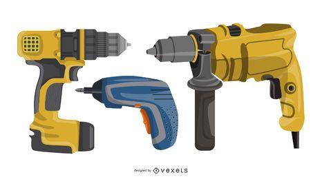 Electric drills illustration set