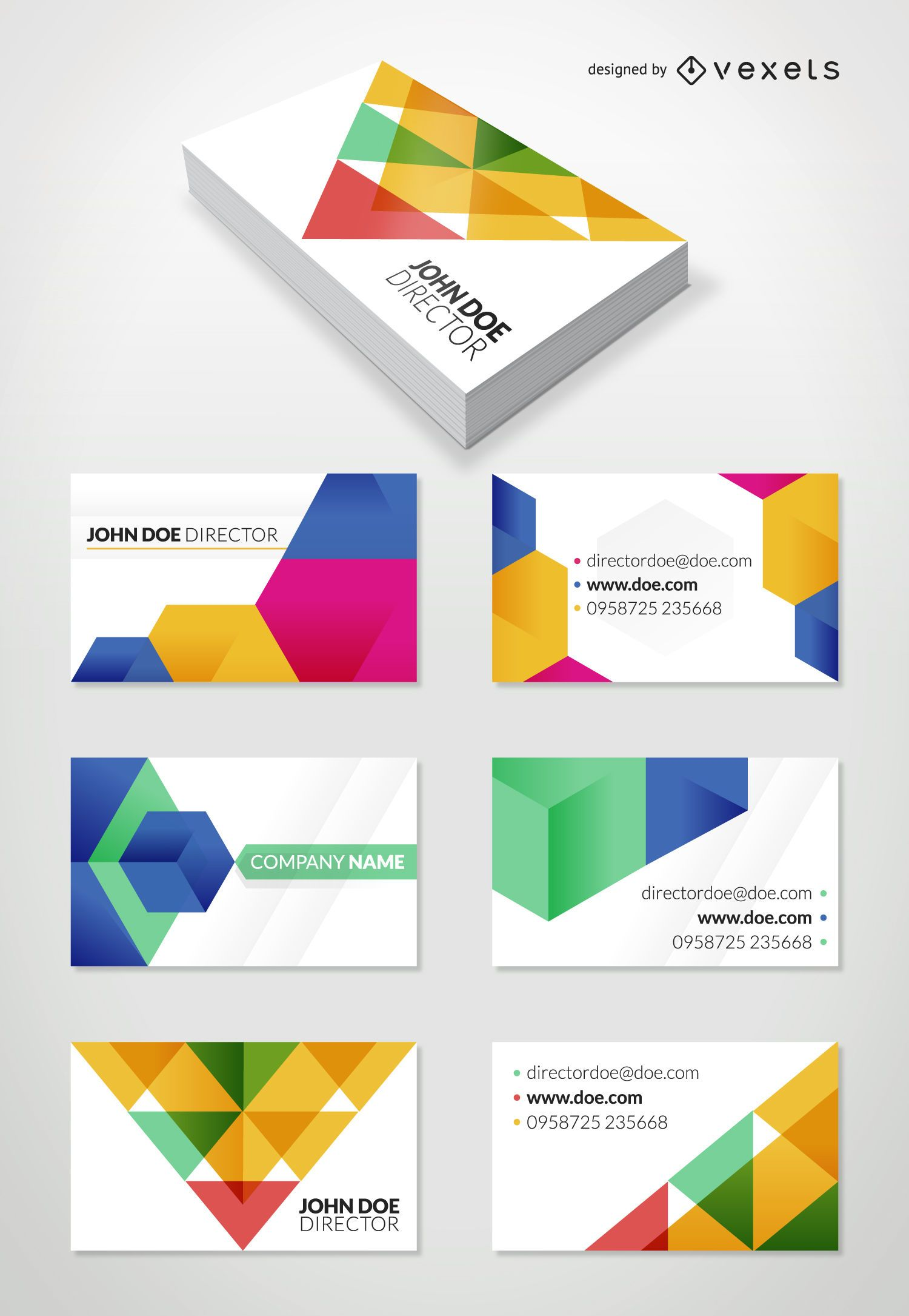 Flat geometric business card set
