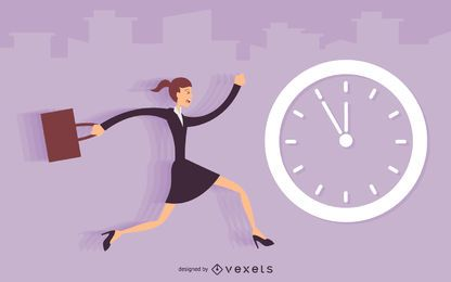 Businesswoman running late illustration
