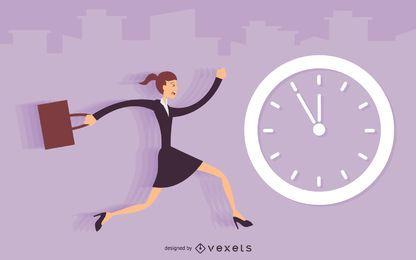 Ilustración de empresaria corriendo tarde