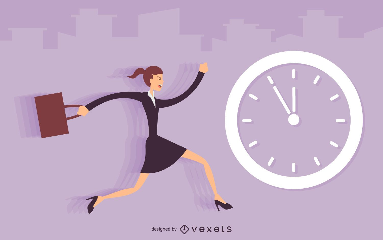 Businesswoman running late illustration