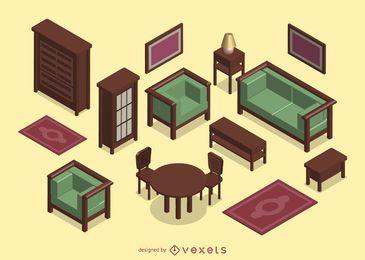 Isometrisches 3D-Wohnzimmer