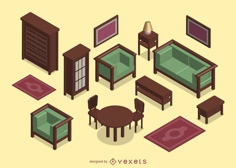 3D isometric living room