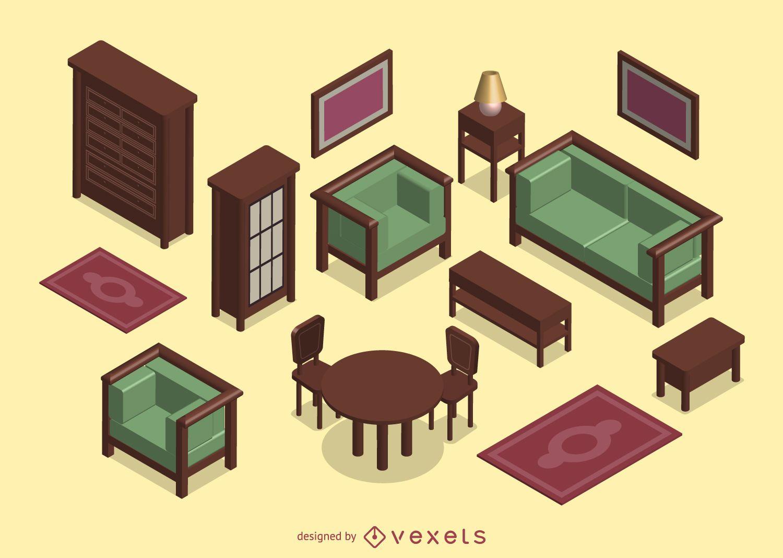 3D isométrico sala de estar