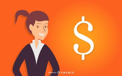 Geschäftsfrau mit Dollarzeichen