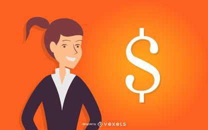 Mulher negócio, com, sinal dólar