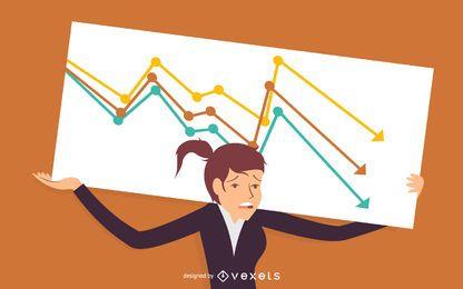 Ilustración de fracaso de mujer de negocios
