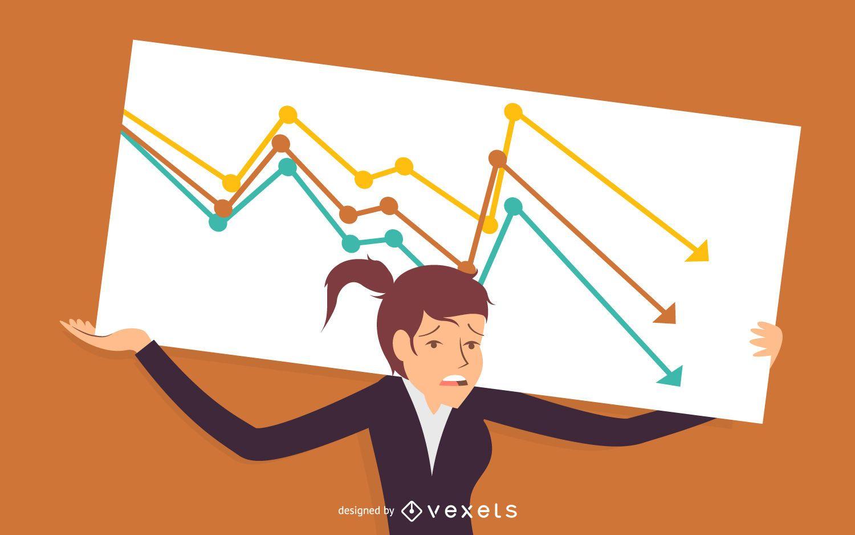 Business woman failure illustration