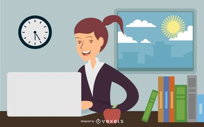 Mulher de negócios que trabalha no escritório