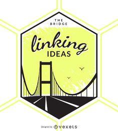 Insignia de etiqueta de puente ilustrada
