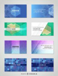 Conjunto del modelo de la tarjeta de visita poligonal
