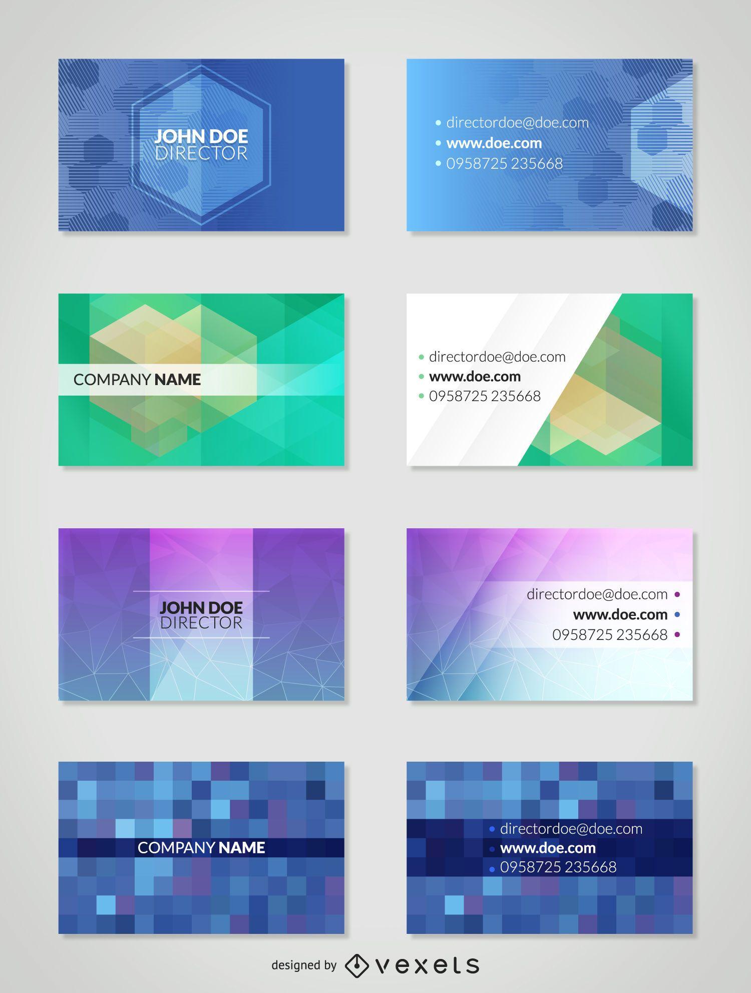 Conjunto de plantillas de tarjeta de visita poligonal