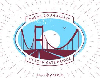 Insignia de etiqueta de puente hipster