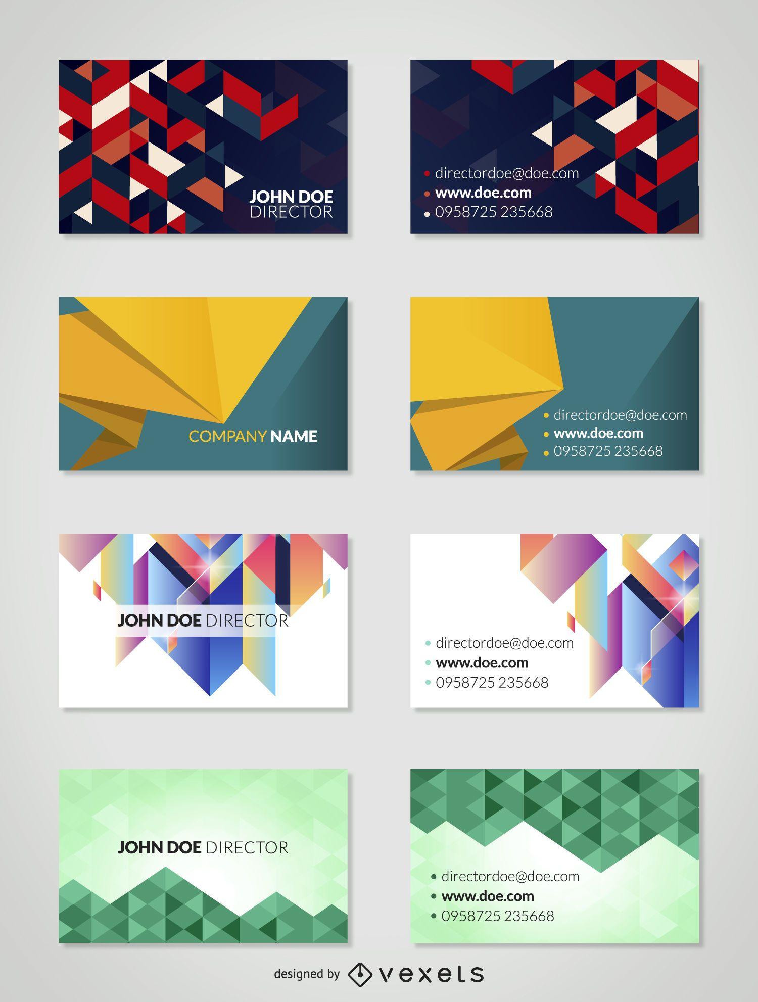 Paquete de tarjetas de visita geométricas