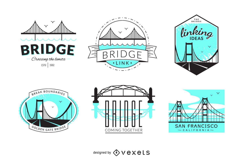 Hipster bridge badge set