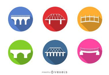 Colorful bridge icons set