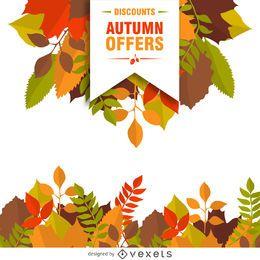 Venta del otoño con las hojas del cartel