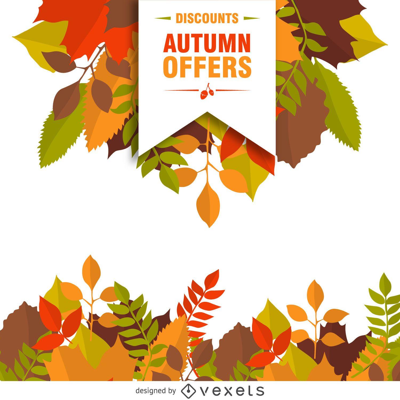 Venta de otoño con cartel de hojas.
