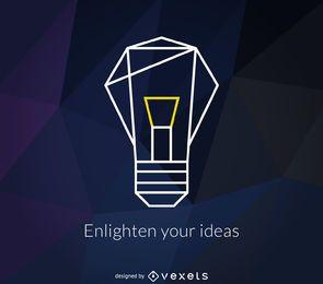 logotipo lâmpada poligonal