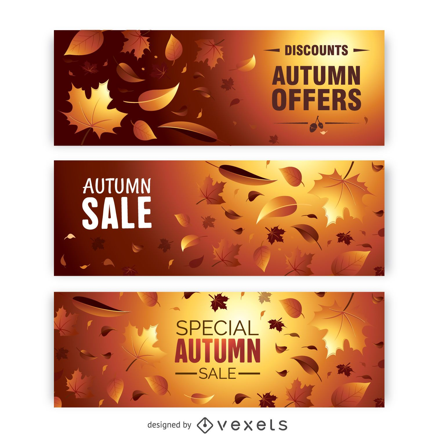 Autumn sale banner set with leaves