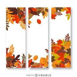 Banner vertical de folhas de outono