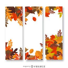 Banner vertical de hojas de otoño