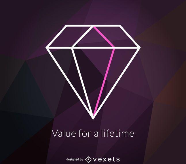 etiqueta do logotipo poligonal diamante