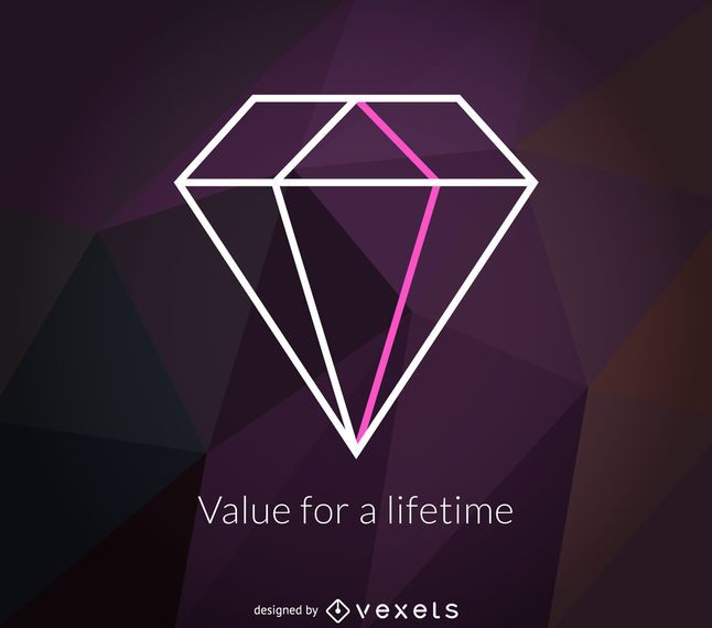 Rótulo de logotipo de diamante poligonal