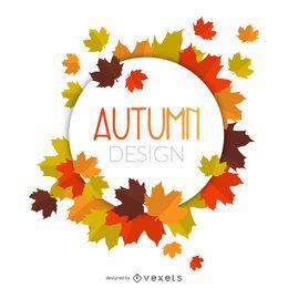 Marco de círculo de hojas de otoño