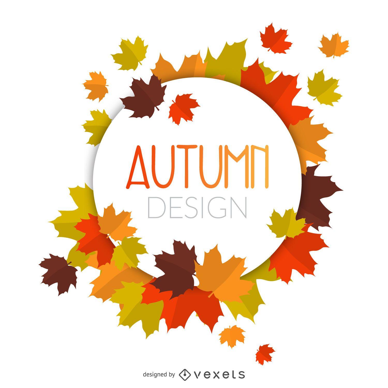 Autumn leaves circle frame vector download - Descargar autumn leaves ...