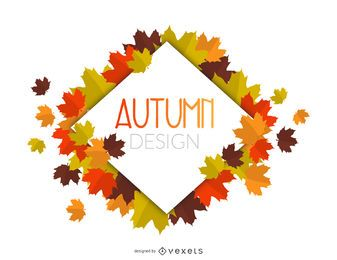 Autumn leaves rhombus frame