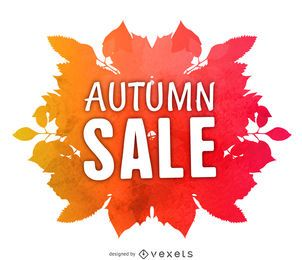Rótulo de venda Outono aquarela