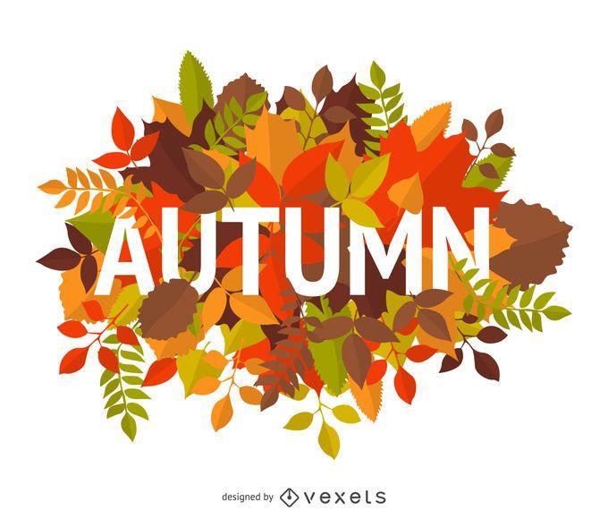 Signo de otoño con hojas
