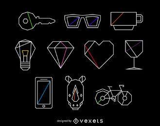 Conjunto de ilustración de elementos poligonales