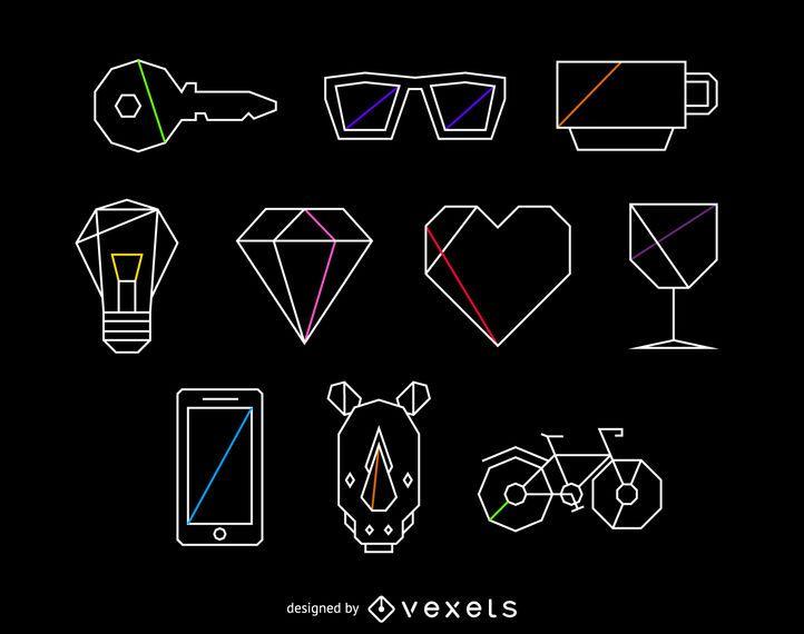 Conjunto de ilustração de elementos poligonais