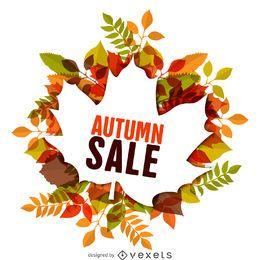 etiqueta da venda do outono com folhas